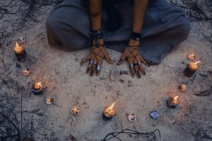 Woman summoning